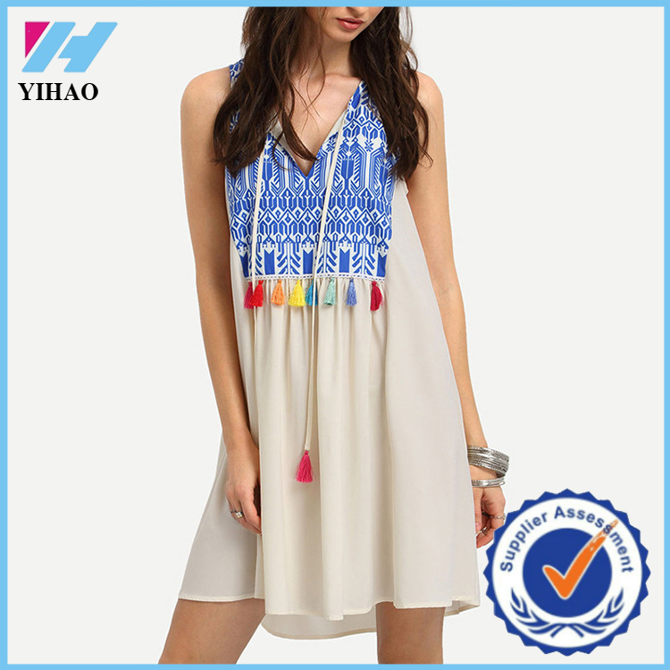 Wholesale guangzhou Yihao summer latest modern women dresses ladies fashion print tassel clothes
