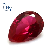 Good quality 7X9mm 5# blood red pear cut artificial ruby