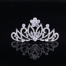 Women silver crown, zinc alloy bridal crown or hair comb with Rhinestone