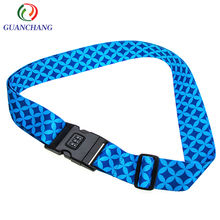 Anti-theft guangdong printed suitcase accessory adjustable combination coded lock luggage buckle strap belt with material custom