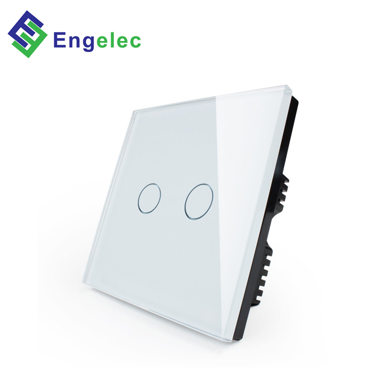 Engelec Wholesale popular smart home WiFi power UK touch switch Null line & live line 2 gang 1way glass panel wifi wall switch
