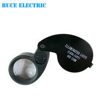 Illuminated Jeweler Loupe 40X25 mm Glass Lens Eye Magnifier Magnifying glass