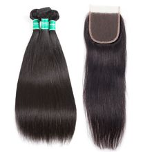 Human Hair Womens Toupee Brazilian Virgin Human Hair Bundles With Silk Base Lace Closure