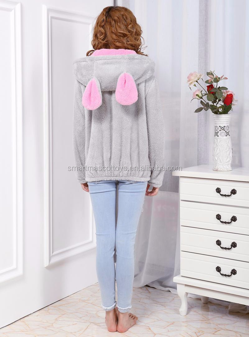 wholesale grey&pink velour hoodie with ears adult animal hoodie