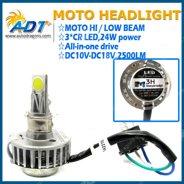 Motorcycle 3 CR.EE LED Driving Fog Head Light Lamp H4 Headlight High/Low Beam