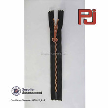 #5 rose gold metal zipper with decorative puller for garments accesseries