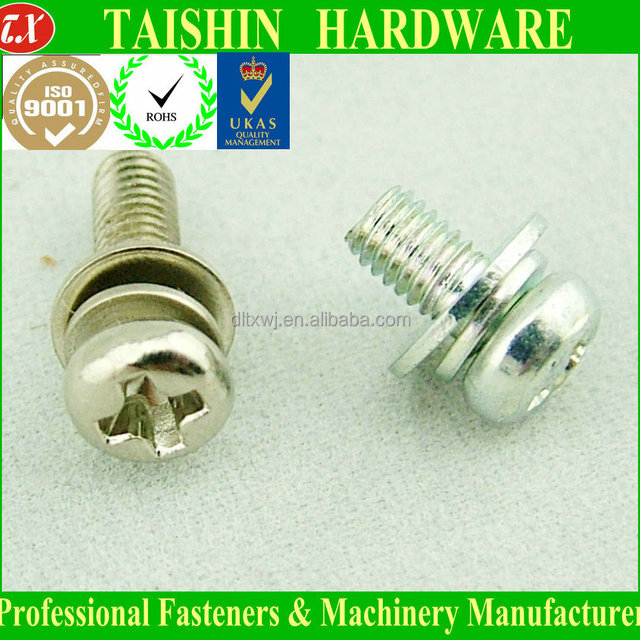 Stainless Steel Phillips Pan Head Combination (SEM) Machine Screws With Washer Attached