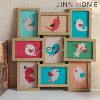 Wholesale Wooden family multi 9 Pcs collage Pic Photo Frames for Auchan