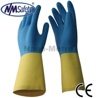 NMSAFETY Blue neoprene and yellow latex flocklined Industrial safety Gloves