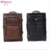 Hot selling polyester luggage bag men leather travel bag nice carry-on luggage with low price
