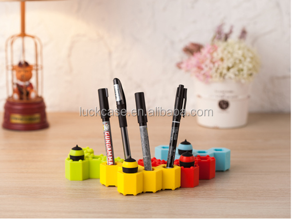 High quality Colorful lovely 3D Joining together honeycomb silicone rubber pen holder Container Pencil Box