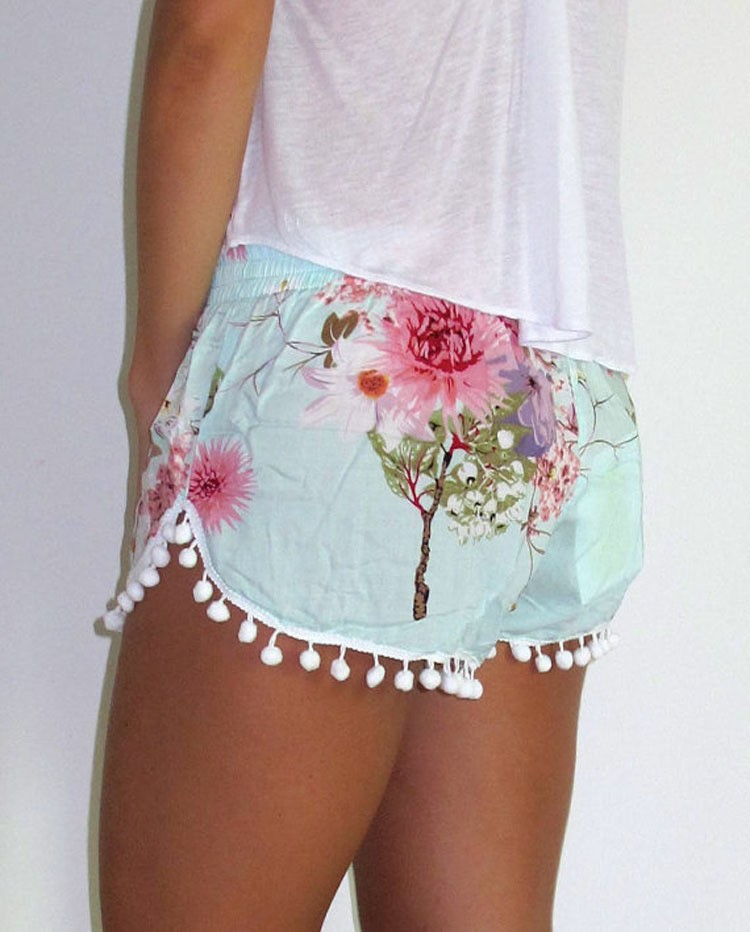 C87129A Lady floral foliage elastic waist shorts beach shorts young lady mini shorts