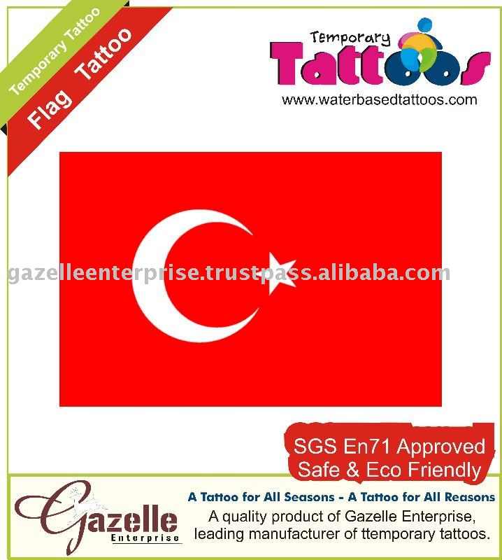 Temporary Tattoos - Turkey Flag Tattoo - 0507121156