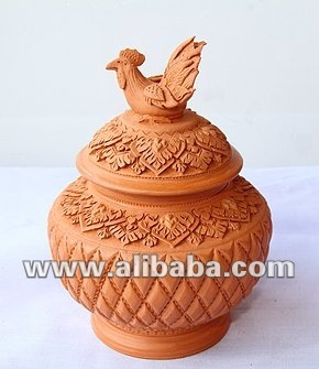 Clay Jar (with a 'Hen on top' lid)