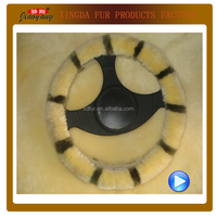 2015 new products sheepskin steering wheel covers made in china