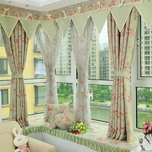 Digital water curtains with jacquard flower pattern
