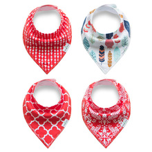 Amazon hotsale cotton baby bibs triangle 4 in 1 pack