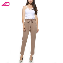 work chiffon high waist harem bow tie drawstring sweet elastic waist adjuster pockets casual trousers