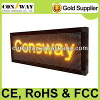 Free shipping CE approved message moving computer controlled led display with yellow color, size 40*104cm and multi-language