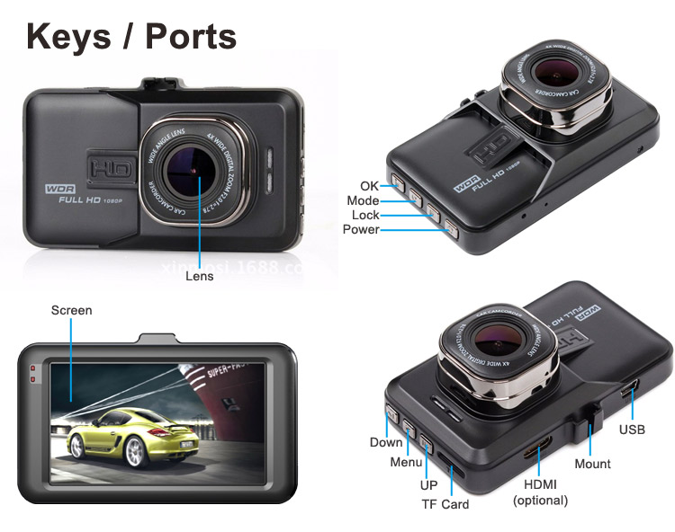 Factory whole sale wdr 1080p manual car camera hd dvr F5