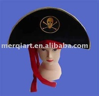 Hot selling black pirate hat pirate cap captain hat