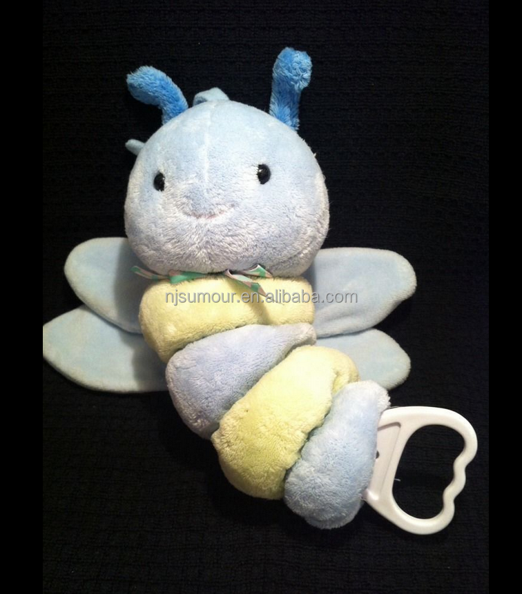 Butterfly Dragonfly Plush Music Crib Pull Light Toy Blue Green