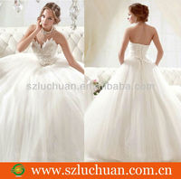 Latest desgin beaded white new model 2013 wedding dress