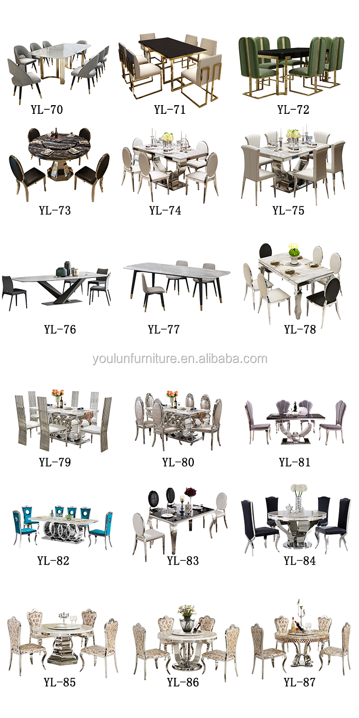 240cm 180cm Arianna Grey Rectangle Luxury Real Natural Marble Top Dining Table Sets