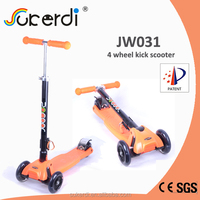 2014 new patent product high quality foldable kids kick stand up trike scooter