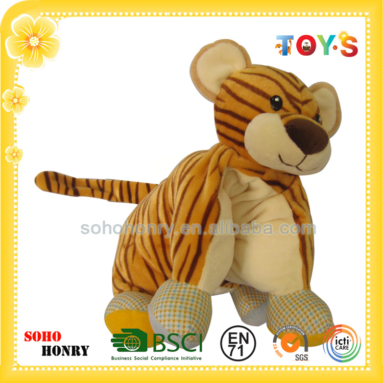 Custom lovely tiger shaped hand hold pillow plush animal soft toy