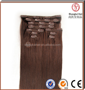 High-end market double drawn remy clip in hair extensions