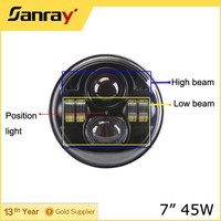 "Hot-selling H4 H13 off road 45w led driving light, 10-30V round shape 7"" waterproof jeeplight"