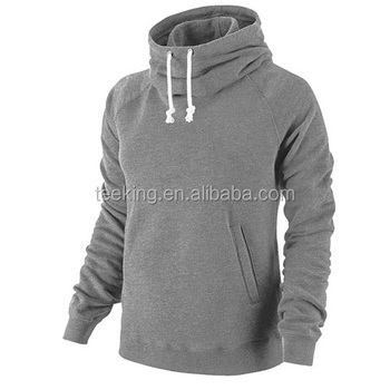 Custom cotton fleece plain hoodie funnel neck hoodie