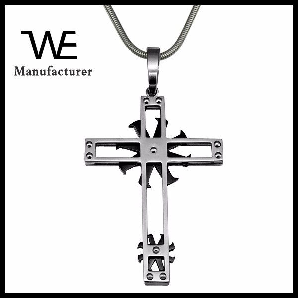 New Hollow Rotatable Wheel Men Stainless Steel Cross Necklace Snake Chain