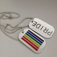 Rainbow pride dual dog tags pendant necklace gay lesbian love zinc alloy