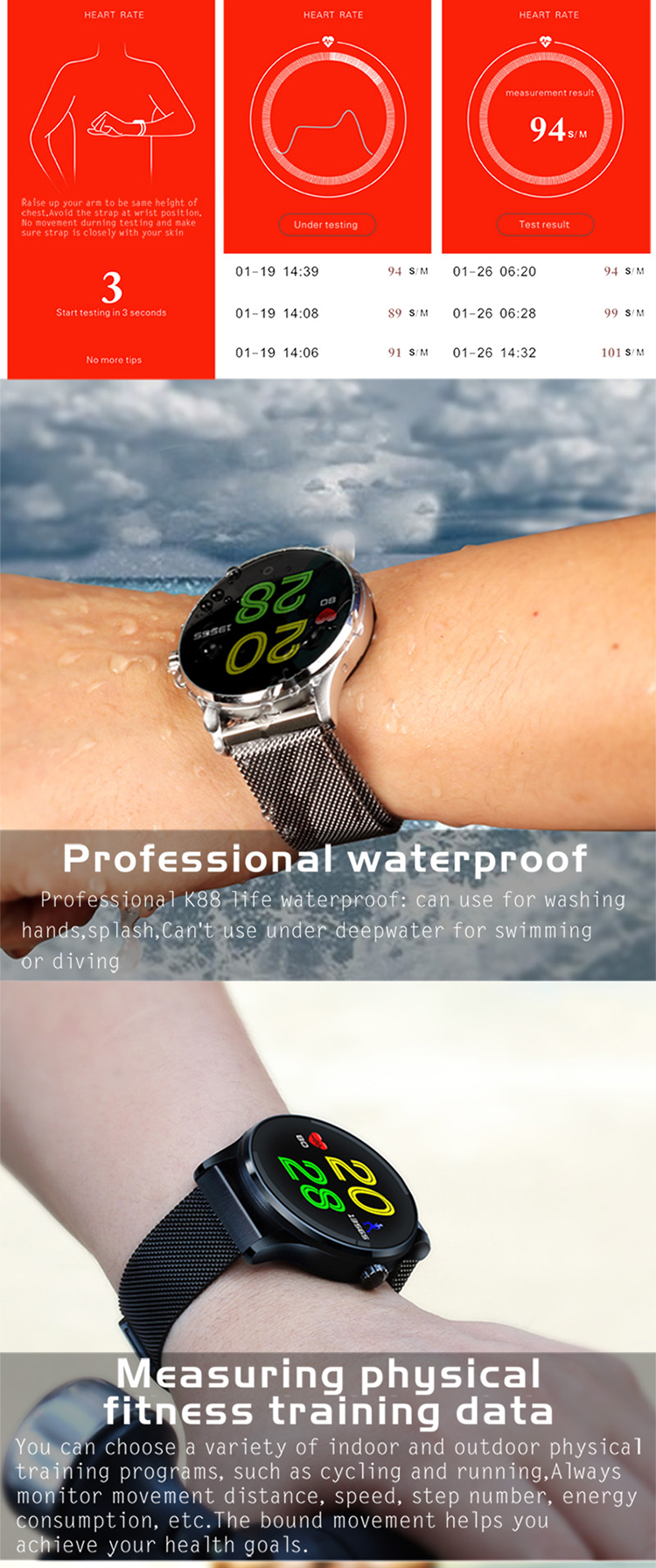 Touch screen ce rohs smart watch manual waterproof round ios k88h smart watch oem