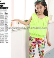 2013 summer new arrvial, teen girl chiffon clothes set, 7 to 12Y fashion girl suits