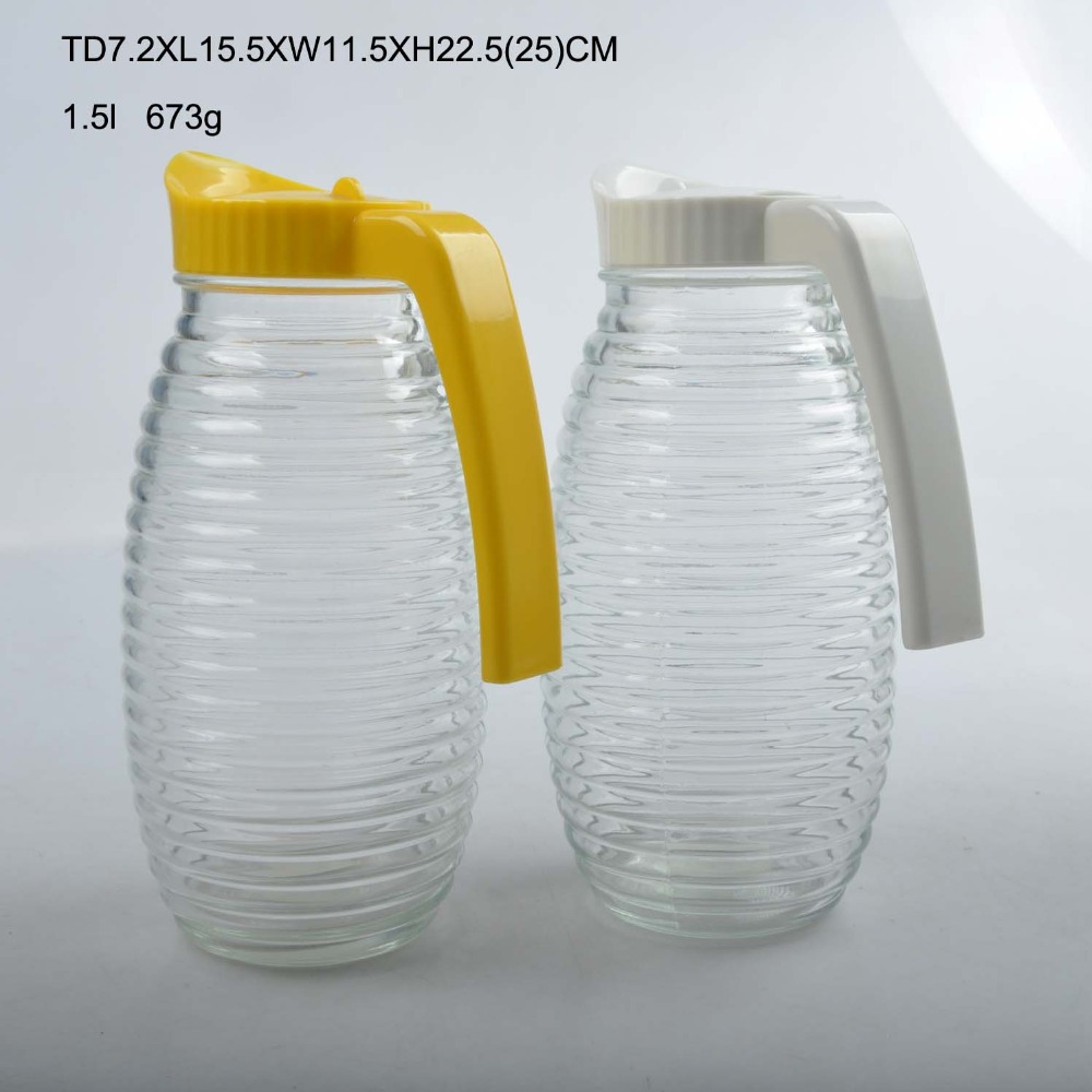 1500ml glass pitcher with hand-painted grain pattern and color plastic cap