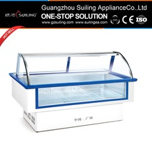 Display curved glass door fish barbecue freezer/island freezerDCLC-2000X