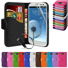 For Samsung Galaxy S3 i9300 PU Leather Wallet Stand Cover Flip Case, Credit card Holders