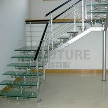 glittering translucent 19mm tempered glass stairs for hotel with competitive price