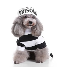 Dog Cat Prisoner's Garb Cosplay Shirt Pet Black and White Stripes Clothing with a Hat