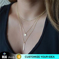10kt gold jewelry batman multiple scales collarbone pendant necklace