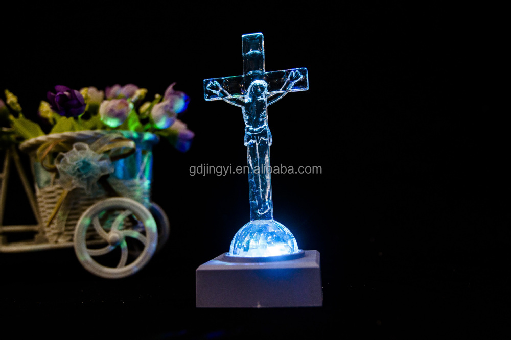 plastic clear Jesus on the cross religious figurine Easter decor