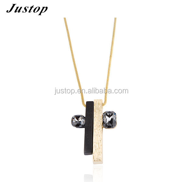 Alli express gold and black bar shaped pendant couple necklace with stone