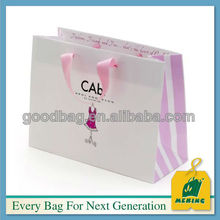 Brand paper bag craft with cotton handle,MJ-0627-K,guangzhou factory