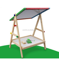wooden double side magnetic drawing board for kids capable of go up and down