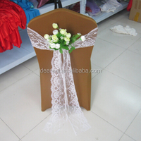 white wedding lace chair covers sash