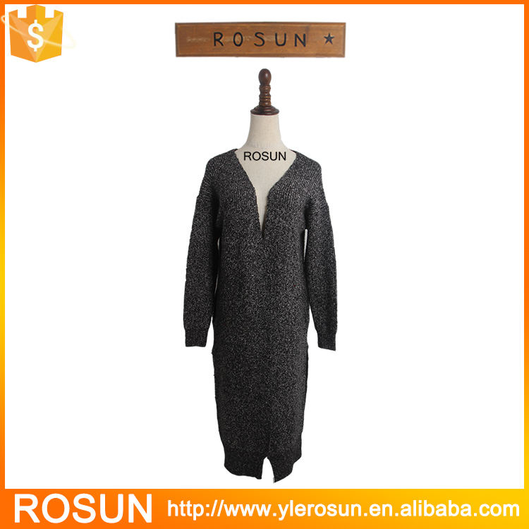 High Quality Black Long Knitted Sweater Side Split Women Cardigan without button