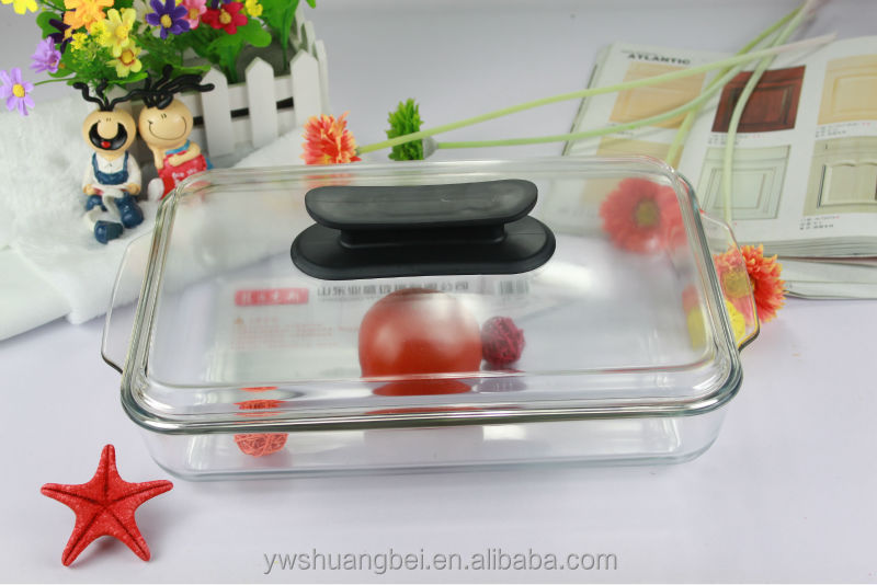 3l vierkante plaat bakken pannen gehard glas for Hittebestendig glas